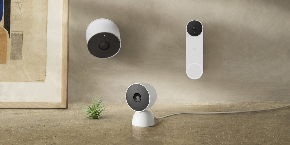 A photograph of new Nest cameras and a doorbell.