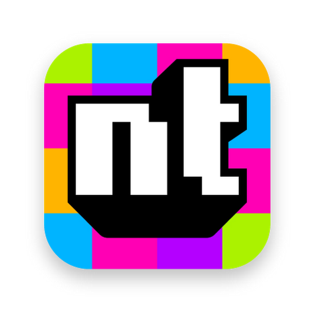 "The Neverthink logo with multicolored background and ""nt"" in the center."