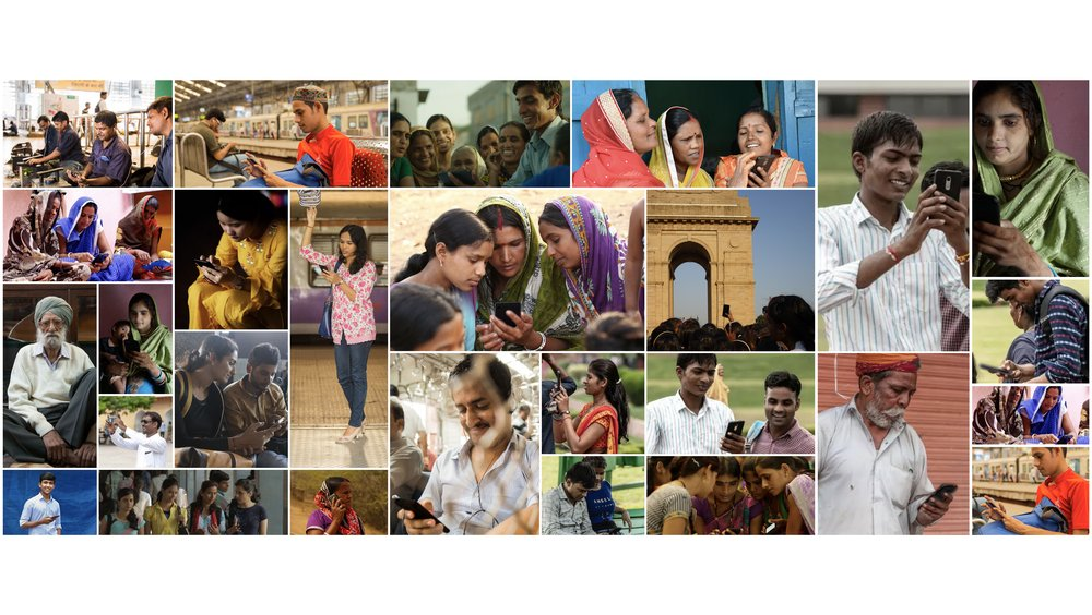 A collage of many different photos showing a range of Indian smartphone users