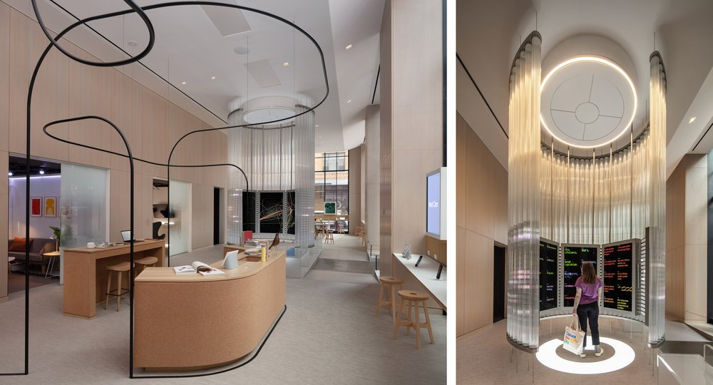 Left: A contextual living area stands in front of the circular glass Imagination Space in the Google Store. Right: A person stands inside the circular glass Imagination Space encasing several large interactive screens.
