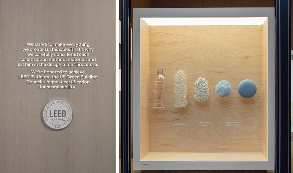 Left: The store's LEED Platinum certification. Right: A Discovery Box explaining the method to produce our Nest Mini Recycled Fabric.