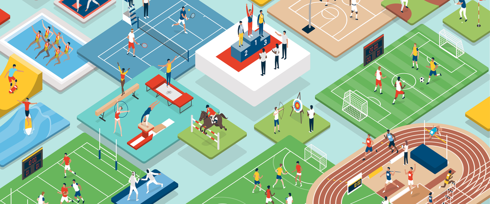 Image of people competing in various sports including, soccer, tennis, archery and track.