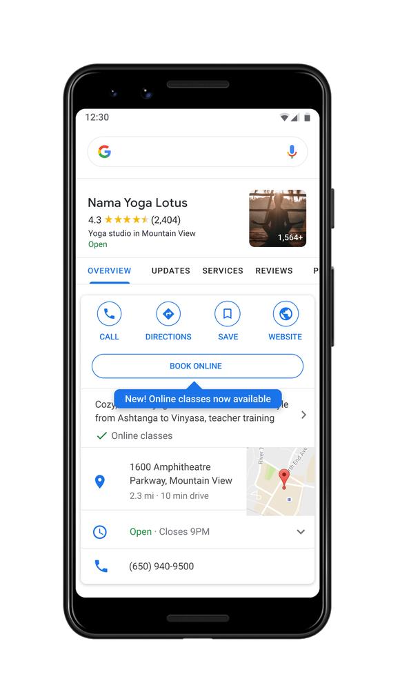 Book an online class with Google Maps