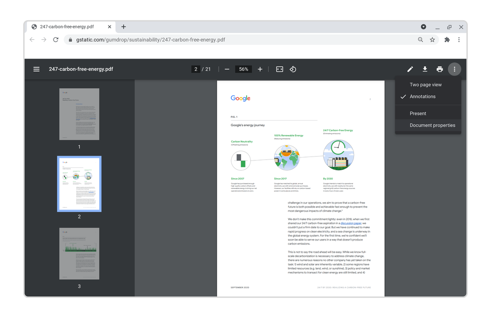 New features on Chrome's PDF reader: Check out the new top toolbar, side toolbar and overflow menu.