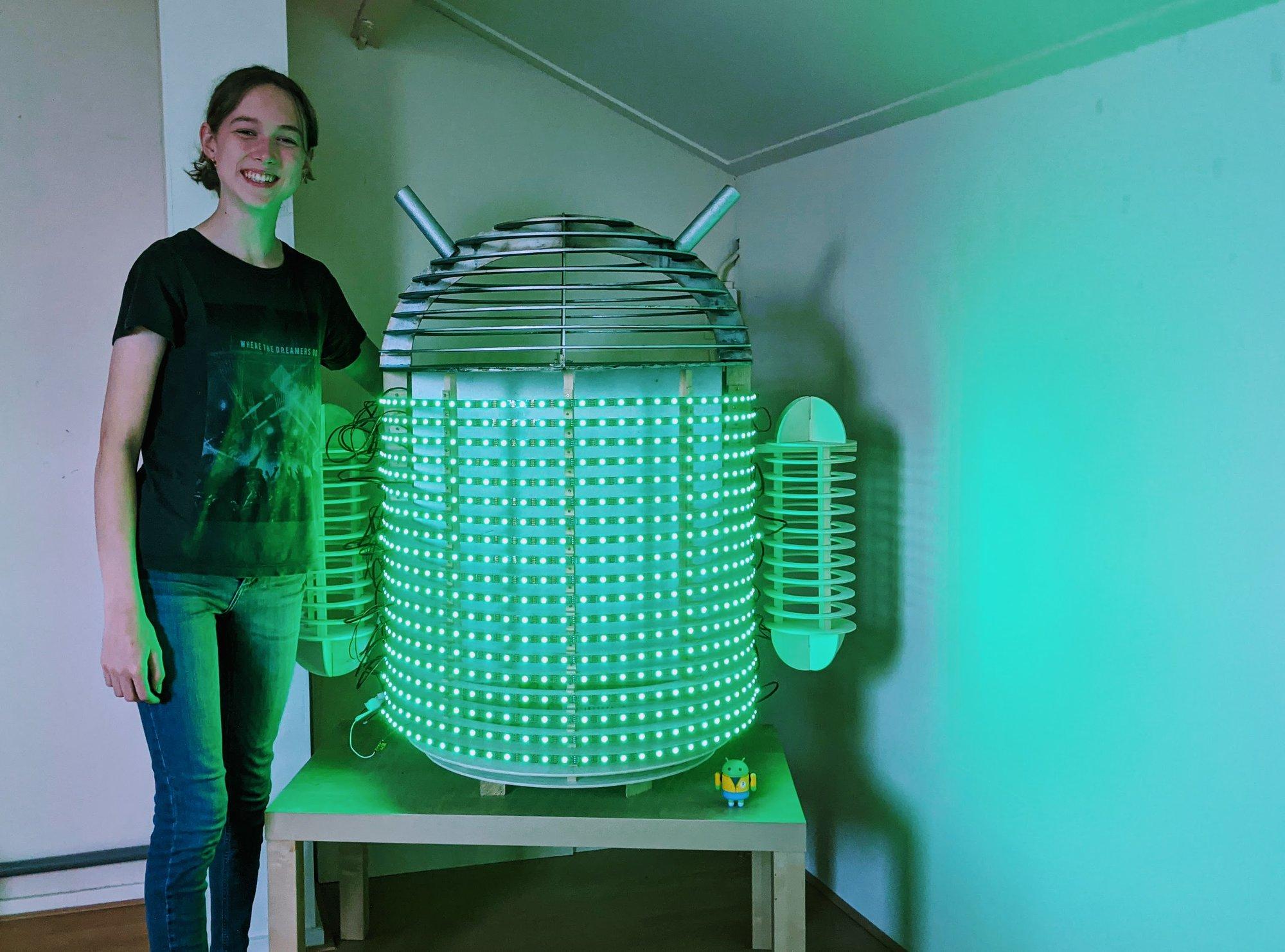 A custom-built robot lightens up the mood