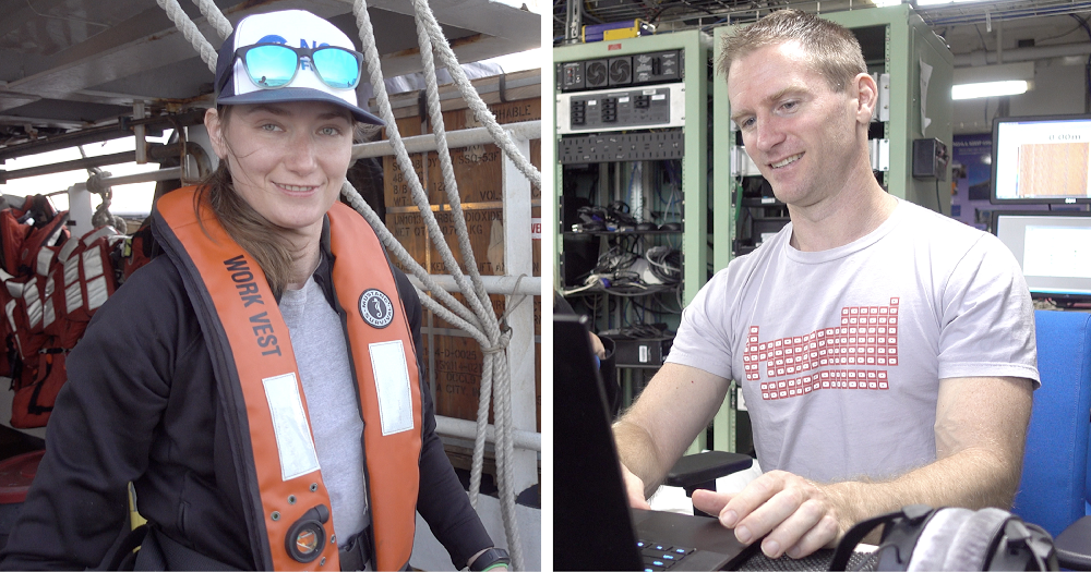 NOAA research oceanographer Ann Allen and Google software engineer Matt Harvey work together to field test the algorithm aboard a research vessel.
