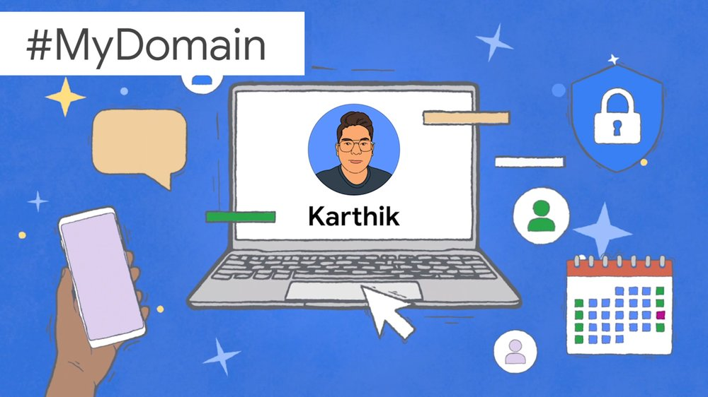 An illustration showing Karthik's name and face on a laptop screen, surrounded by images symbolizing productivity.