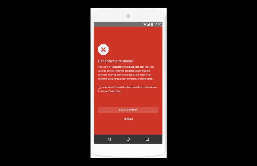 Eine sehr deutliche Warnung - auch bei Websites für Phishing Attacken