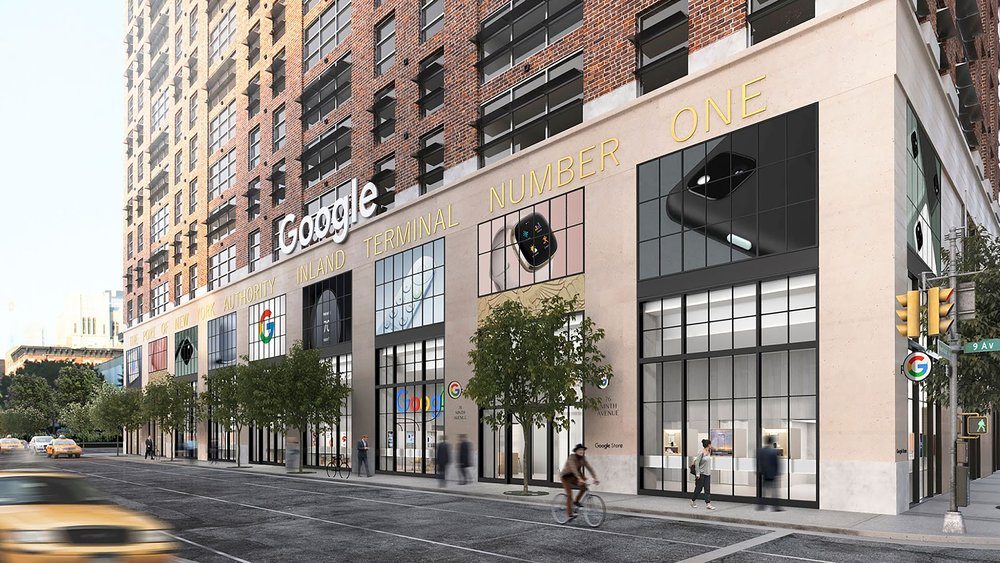 A mockup of the facade of the new Google Store in New York City.