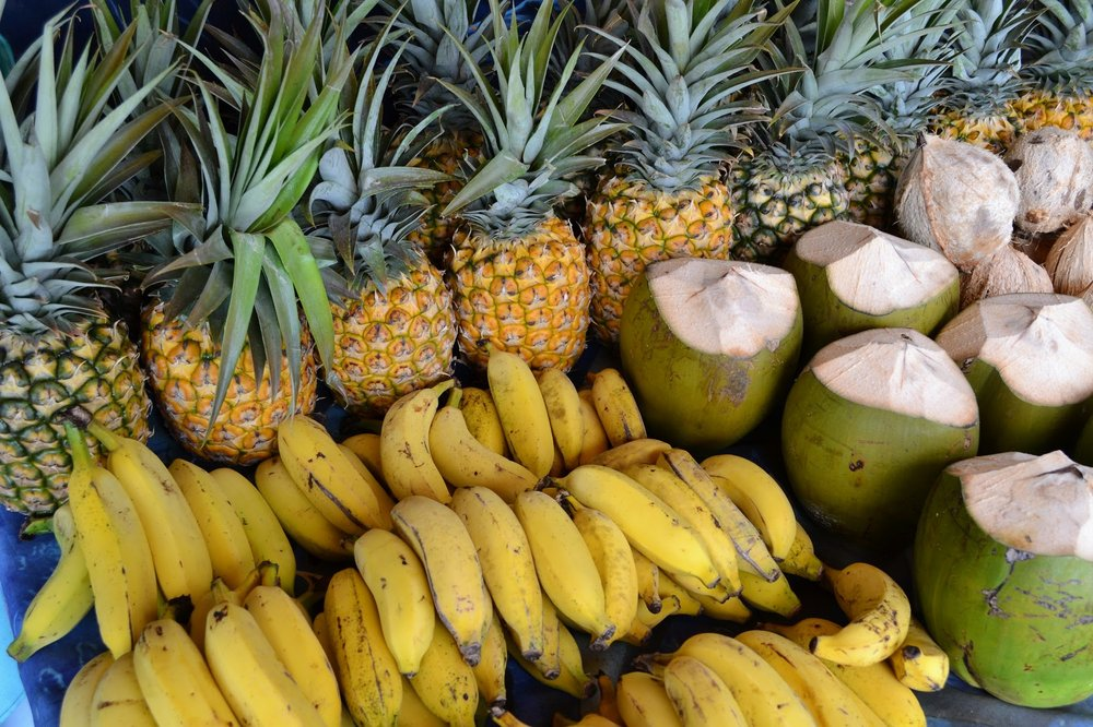 Pineapples, bananas and coconuts