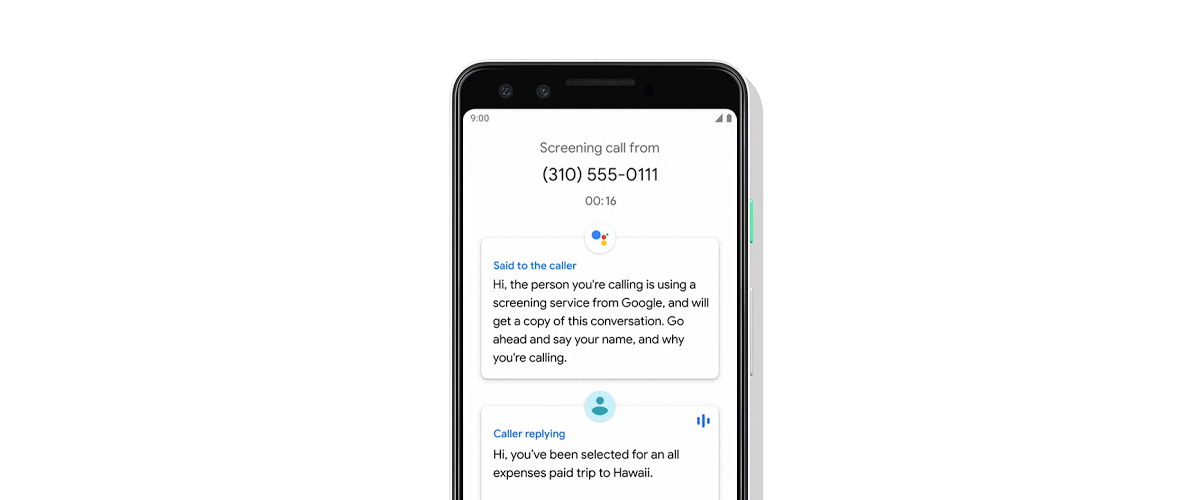 An illustration of the Call Screen feature on Pixel phones.