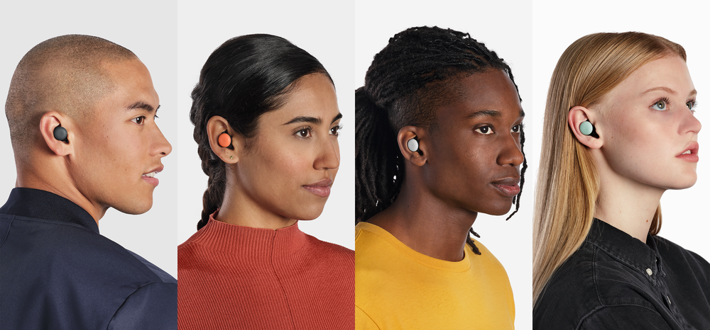Four colors of Google Pixel Buds