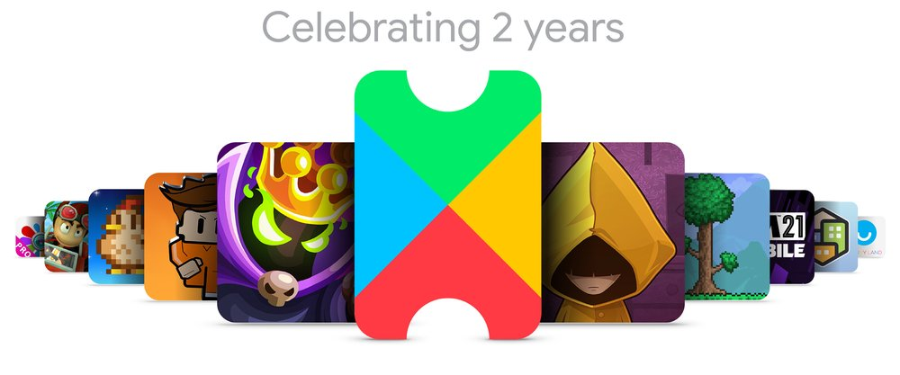 Google Play Pass logo with 10 mobile game titles surrounding it: Very Little Nightmares, Beach Buggy Racing, Stardew Valley, Football Manager 2021 Mobile, Photo Studio PRO, Terraria, Pocket City, King Rush Vengeance – Tower Defense Game, The Escapists 2: