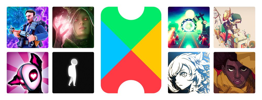 Google Play Pass logo with 8 mobile game titles surrounding it.