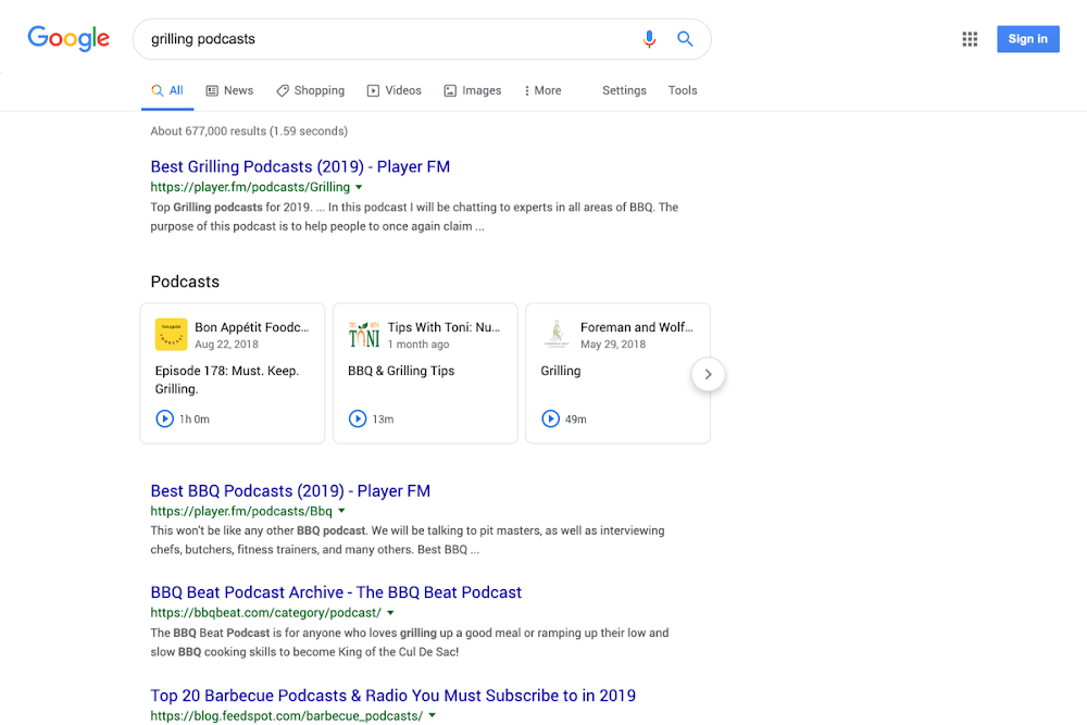 Podcasts in search desktop