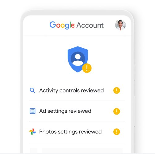An image of a mobile phone showing a privacy check up on a user's Google profile