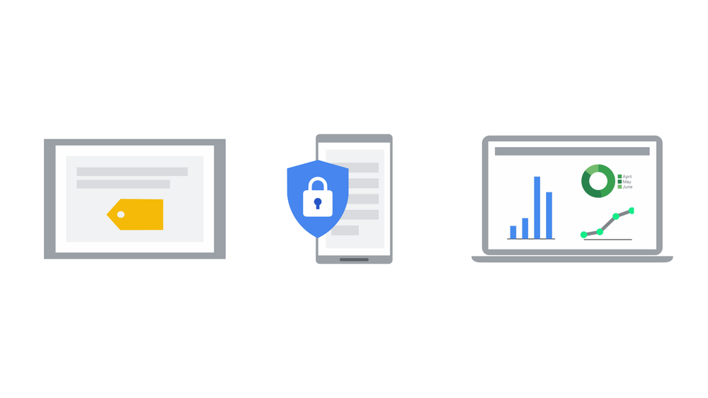 Icons of laptops and phones, with a blue shield in the center. In the blue shield there is a white lock.