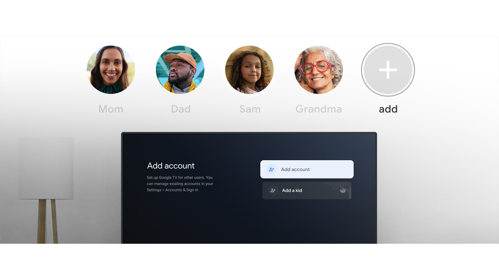 Five circles showing personalized profiles on Google TV