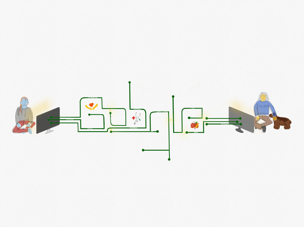 Google logo as wires to laptops that two people are using.