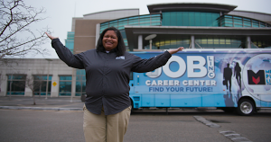 Robyn Jonston stands in front of the JobLINC bus.