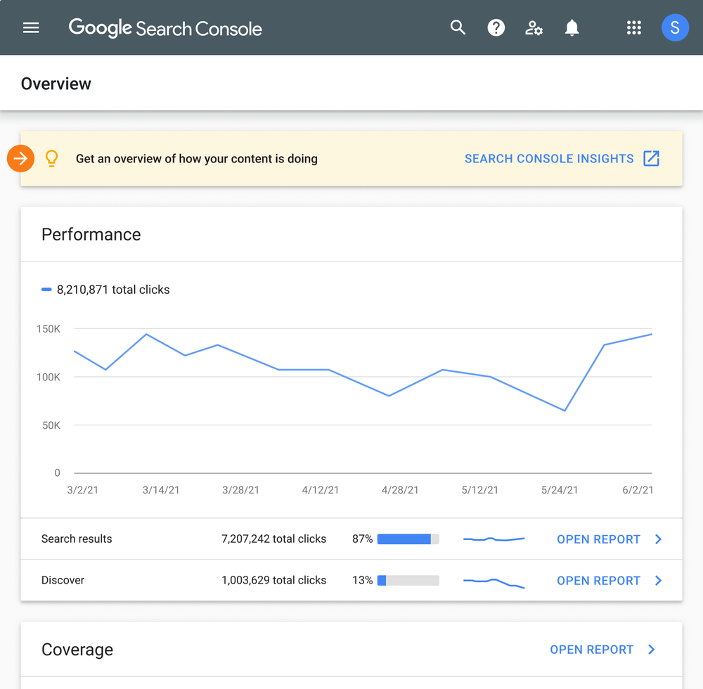 image showing Search Console Insights entry point