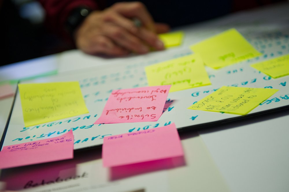 A journalist writes down business ideas on sticky notes