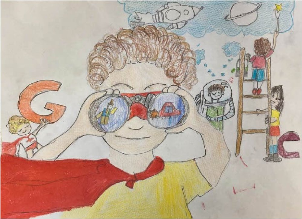 """Drawing of a Google logo with a person using binoculars as the two """"Os."""""""