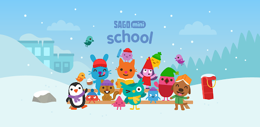 A promotional image from the game Sago Mini School, featuring a group of cartoon characters in a snowy landscape.