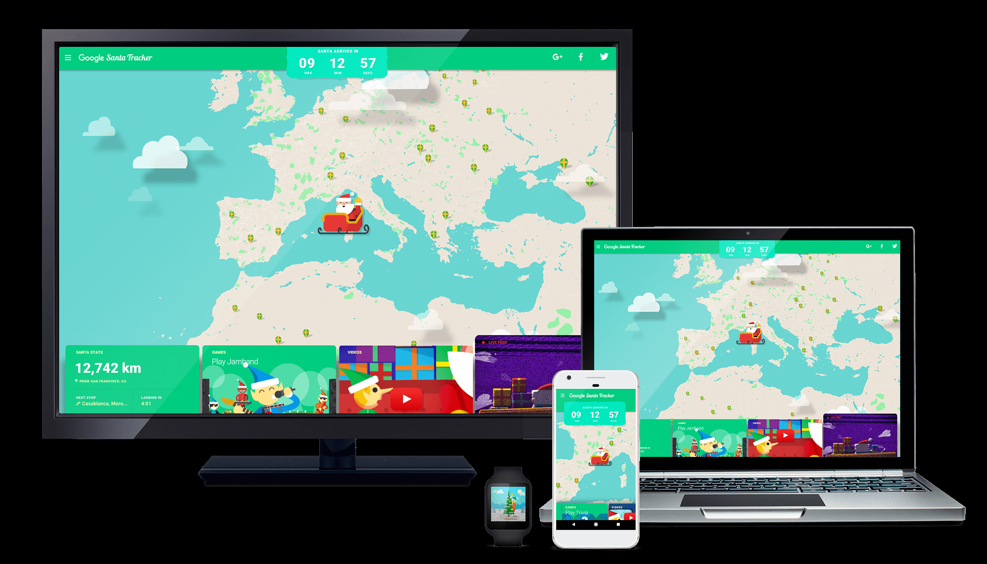 Santa Tracker on devices