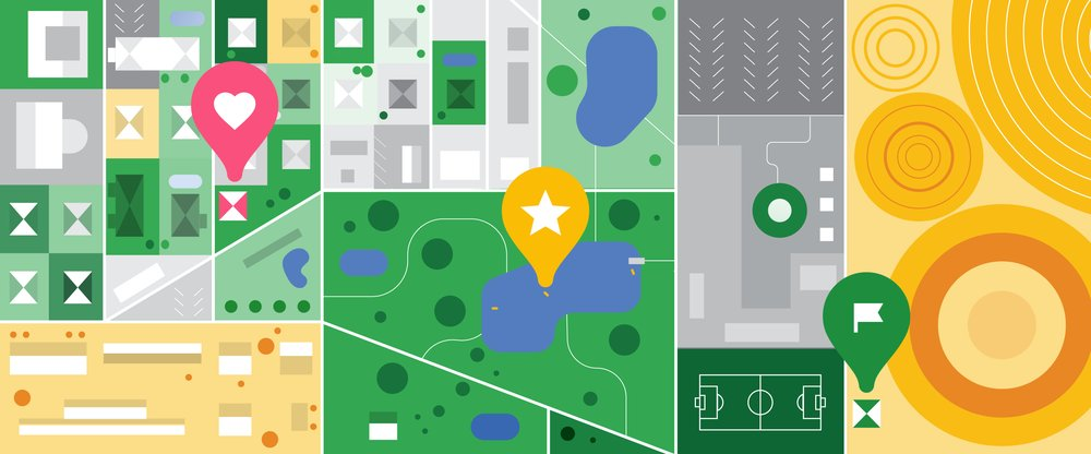 Illustration mit Maps Icons