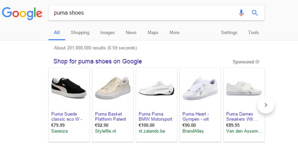 Google shopping screengrab