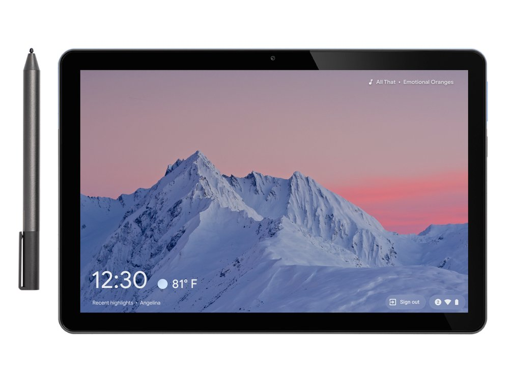 Image shows an Android tablet next to an Android tablet pen. On the screen is a photo of a mountain and behind it is a pink-hued sunset.