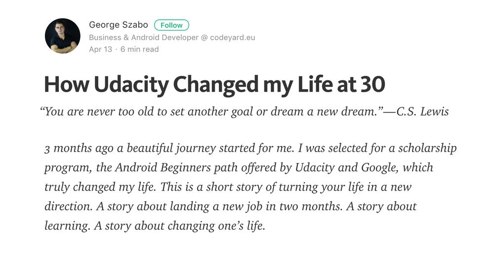Udacity Medium Screenshot