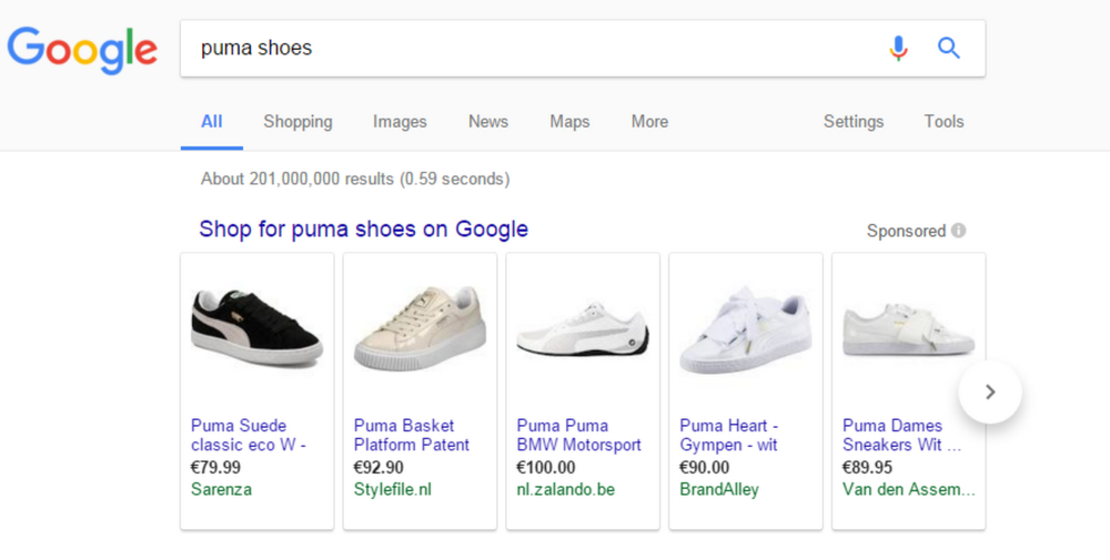 Google shopping screengrab