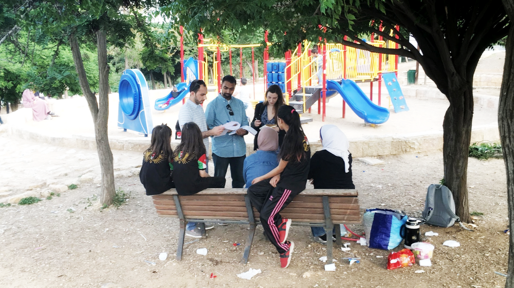Googlers and Edraak staff at a park in Amman, Jordan