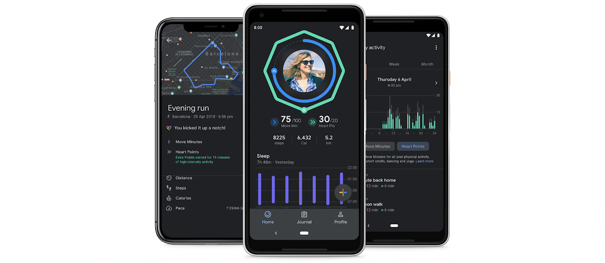 Google Fit Sleep Charts and Dark Mode