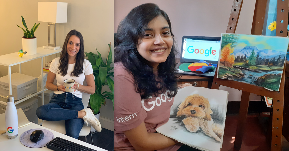 teo images next to each other. Image one is Lauren sitting at her desk in her apartment. Image two is Ishani holding up paintings of a dog and a landscape.e