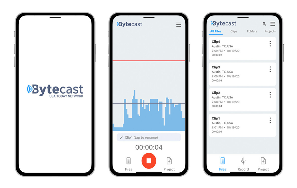 Screenshots of the Bytecast app show examples of how reporters in the field can easily record, edit and distribute audio clips