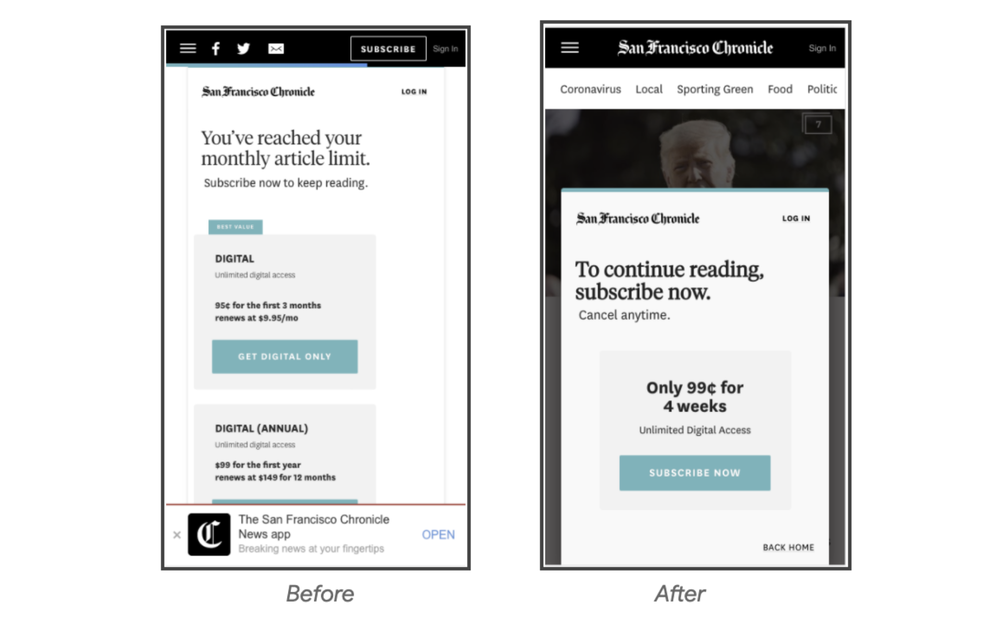 Screenshots of The San Francisco Chronicle's simplified new mobile subscription process