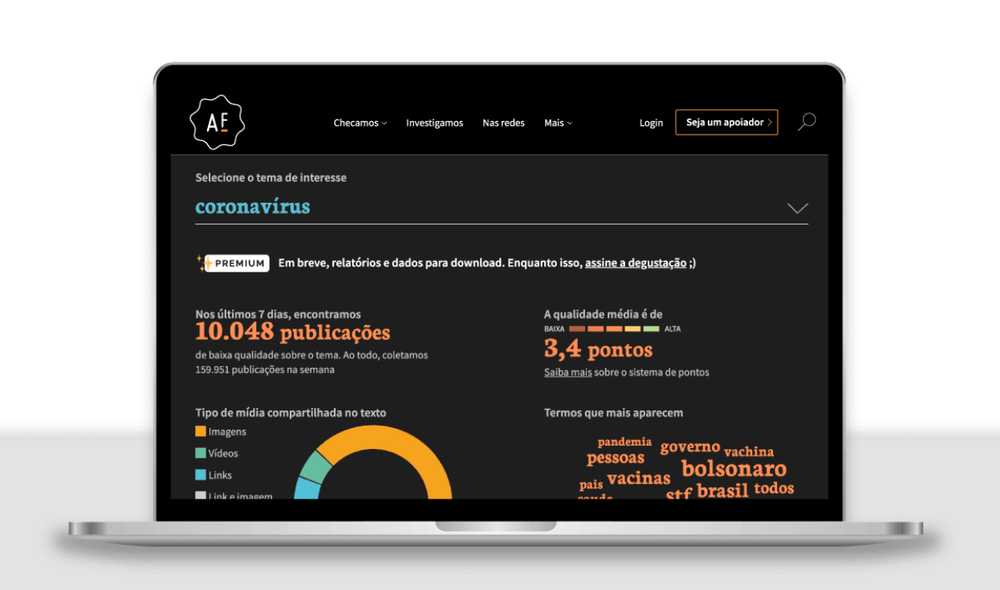 A screenshot of the dashboard for Radar, a tool to help monitor misinformation in Portuguese