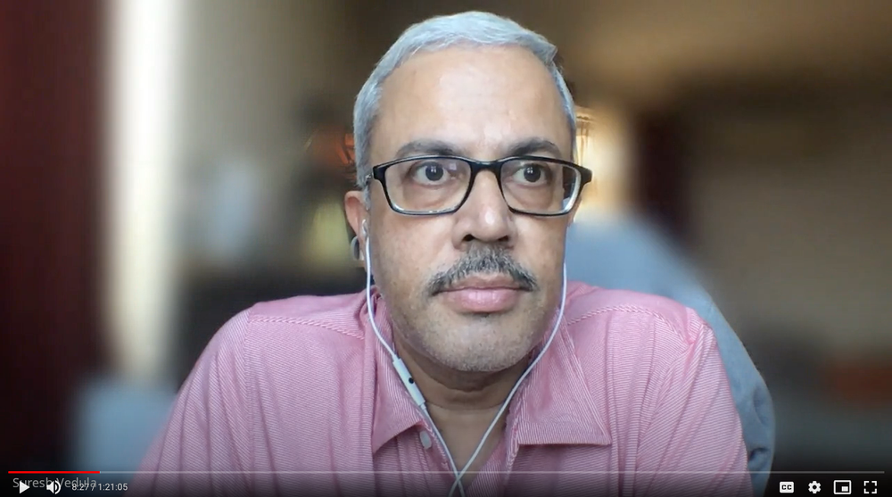 A screenshot showing Suresh Vedula as he carries out an online interview with a farmer involved in the Wadhwani AI project