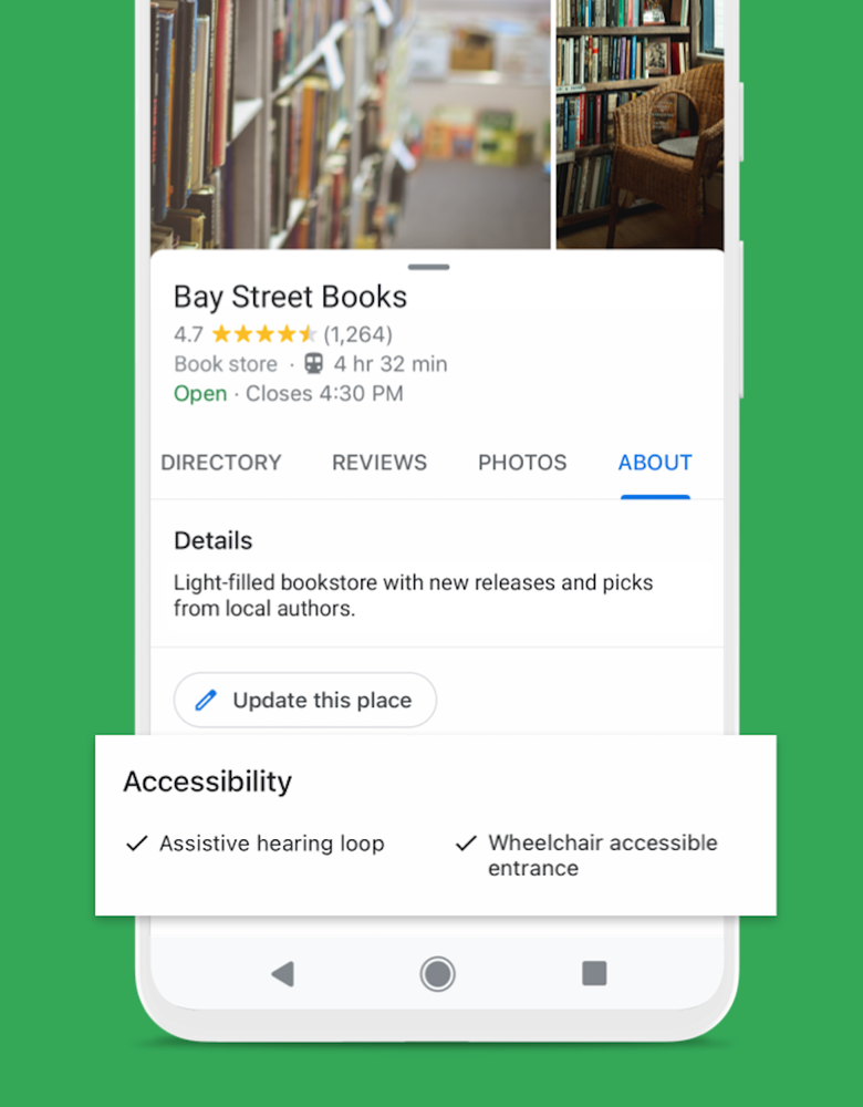 A screenshot of Google Maps showing the accessibility attributes for a business.