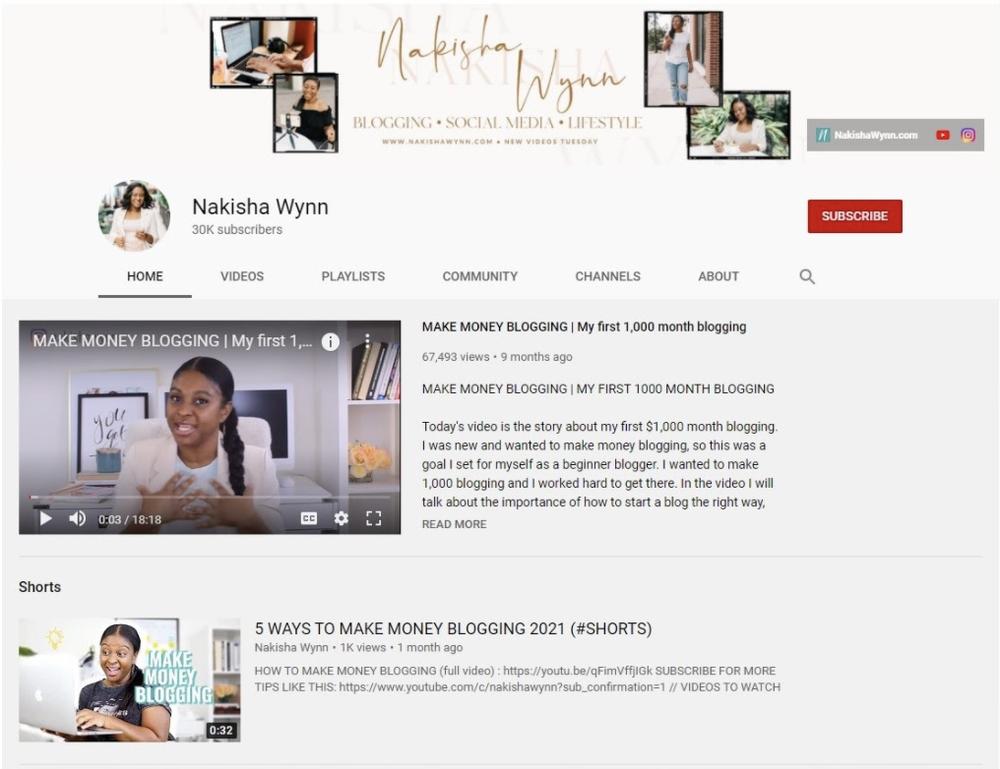 screenshot of Nakisha's YouTube channel