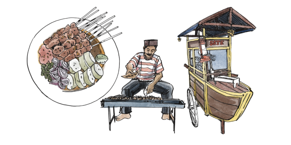 An illustration of a satay seller and a plate of satay