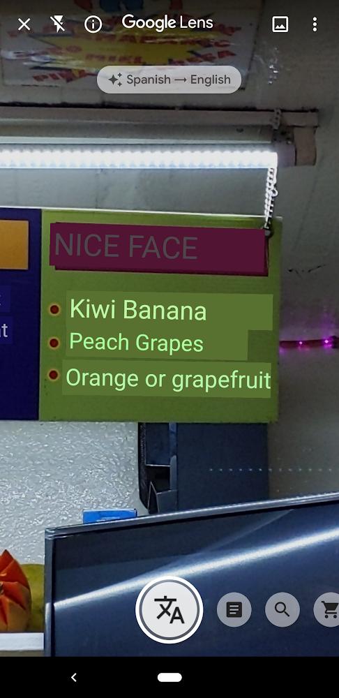 Lens translation on the Pixel 3a.