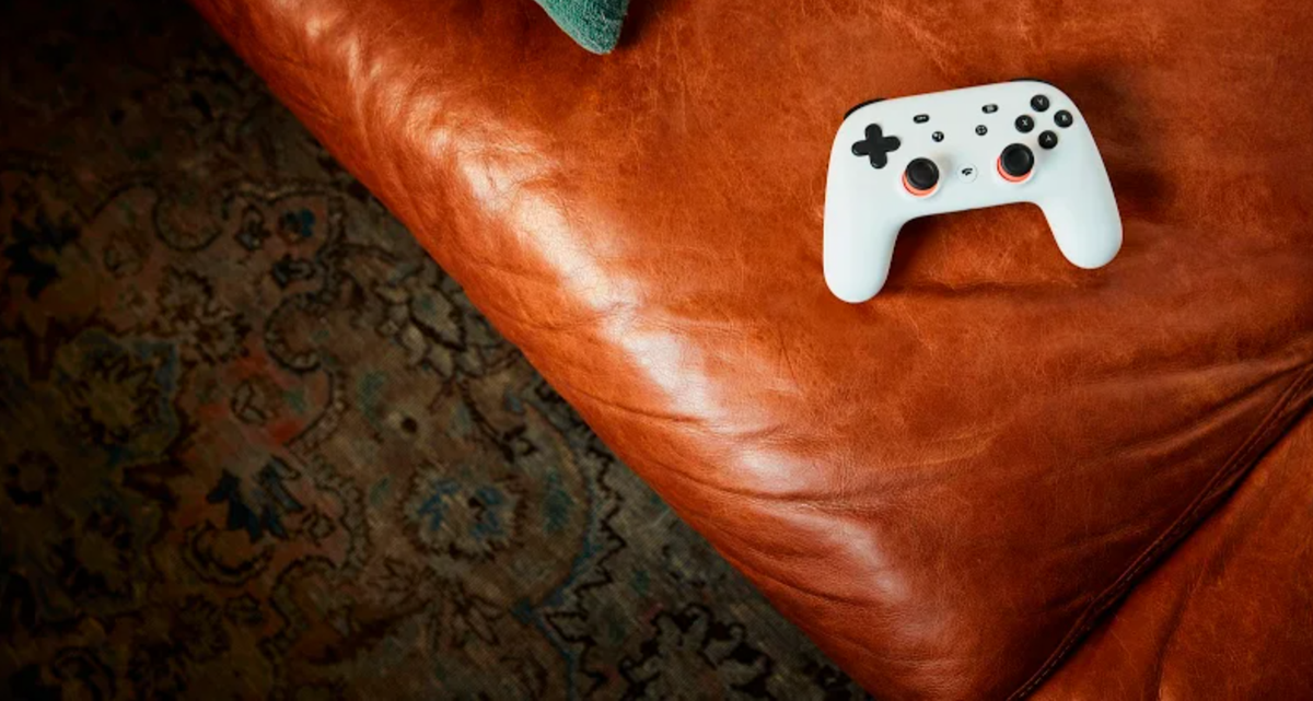 Stadia controller on couch