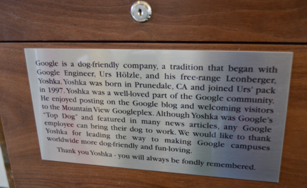 Plaque commemorating Yoshka.