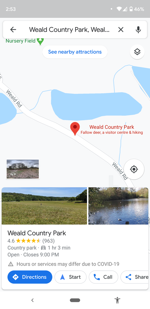 Screenshot of Weald Country Park Google Maps listing