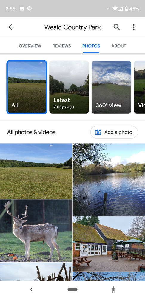 Screenshot of photos from Weald Country Park