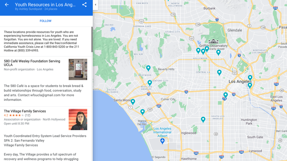Screenshot of Ashley's Google Maps list for youth resources in L.A.